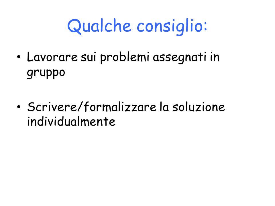 Qualche consiglio: Lavorare sui problemi assegnati in gruppo Scrivere/formalizzare la soluzione individualmente