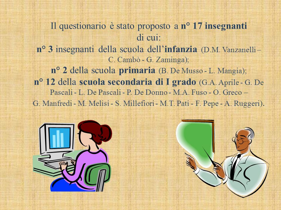 Il questionario è stato proposto a n° 17 insegnanti di cui: n° 3 insegnanti della scuola dellinfanzia (D.M.