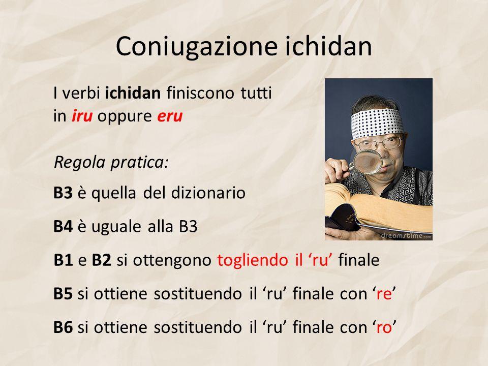 Coniugazione ichidan Regola pratica: B1 e B2 si ottengono togliendo il ru finale B4 è uguale alla B3 B5 si ottiene sostituendo il ru finale con re B6