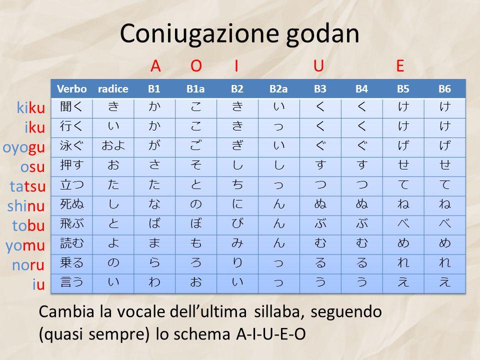 Coniugazione godan Cambia la vocale dellultima sillaba, seguendo (quasi sempre) lo schema A-I-U-E-O AOIUE kiku iku oyogu osu tatsu shinu tobu yomu nor
