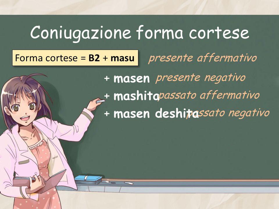 Coniugazione forma cortese Forma cortese = B2 + masu presente affermativo presente negativo passato affermativo passato negativo + masen + mashita + m