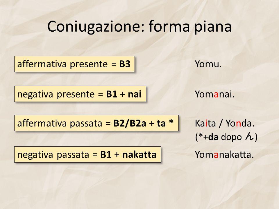 Coniugazione: forma piana affermativa presente = B3 negativa presente = B1 + nai Yomu. Yomanai. affermativa passata = B2/B2a + ta * Kaita / Yonda. neg