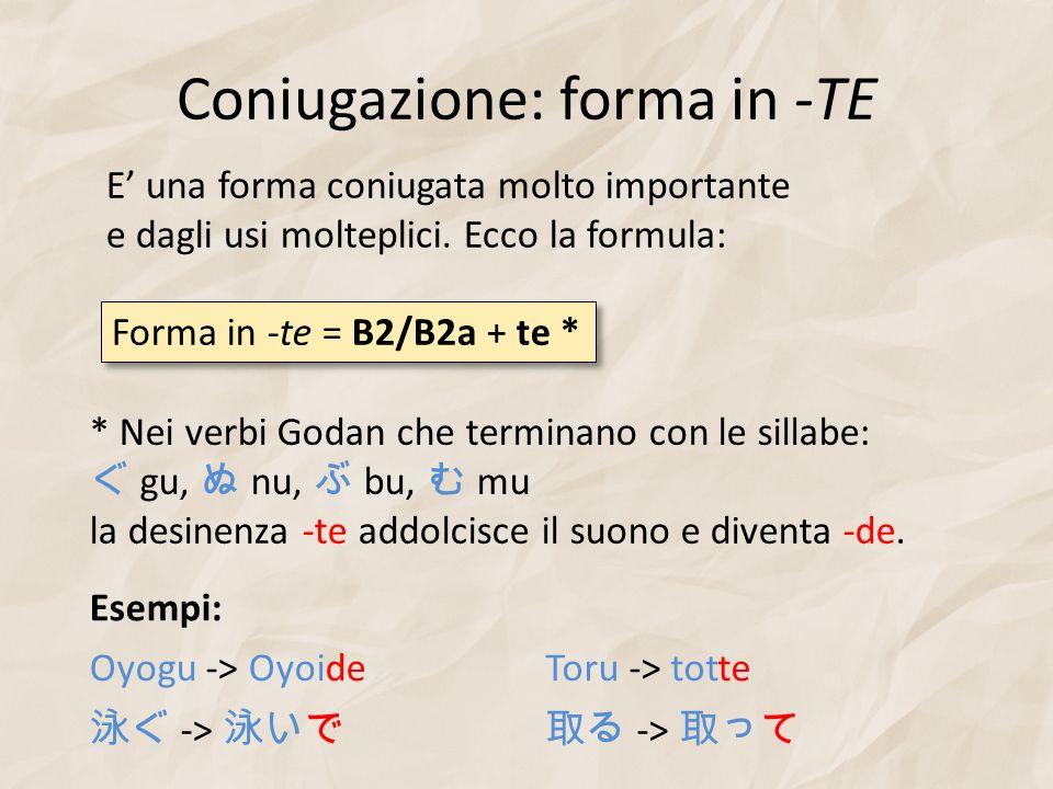 Coniugazione: forma in -TE E una forma coniugata molto importante e dagli usi molteplici. Ecco la formula: Forma in -te = B2/B2a + te * * Nei verbi Go