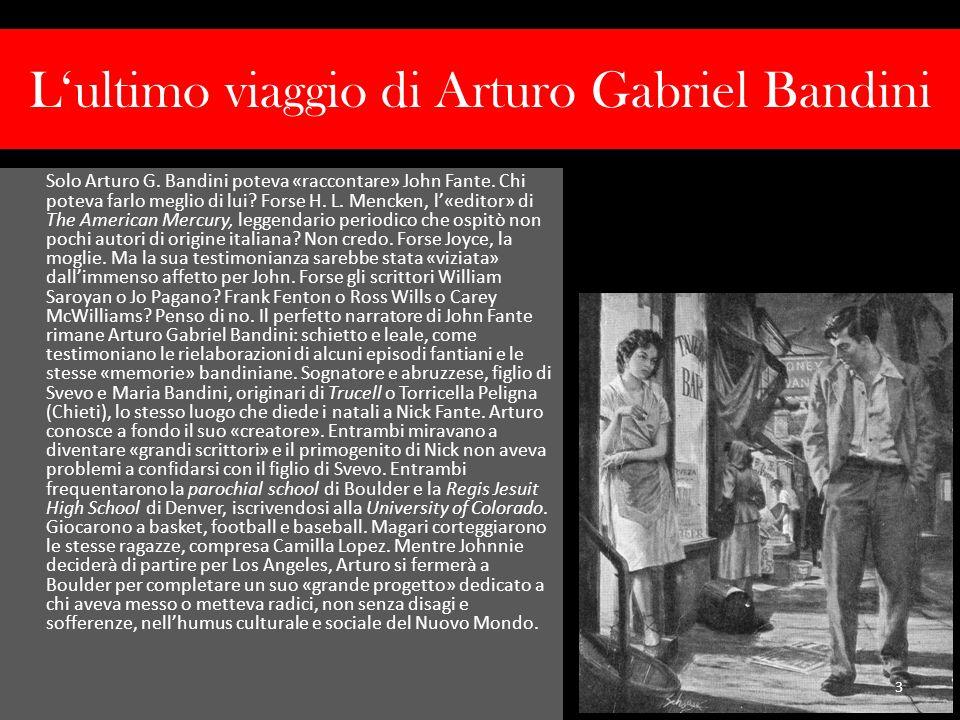 Lultimo viaggio di Arturo Gabriel Bandini Mi ha affascinato lidea di un personaggio pronto a raccontare vita e opere del proprio «creatore», rivelando qui e là il «non detto» e il «non scritto» che, come la brace sotto la cenere, attende di venir ravvivato per donarci fiamma e calore.