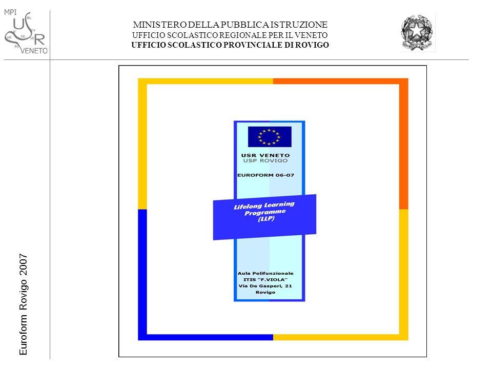 MINISTERO DELLA PUBBLICA ISTRUZIONE UFFICIO SCOLASTICO REGIONALE PER IL VENETO UFFICIO SCOLASTICO PROVINCIALE DI ROVIGO Euroform Rovigo 2007