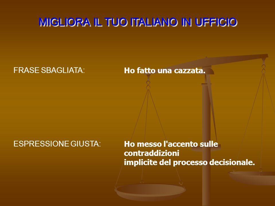 MIGLIORA IL TUO ITALIANO IN UFFICIO ESPRESSIONE GIUSTA: FRASE SBAGLIATA: Ho fatto una cazzata. Ho messo l'accento sulle contraddizioni implicite del p