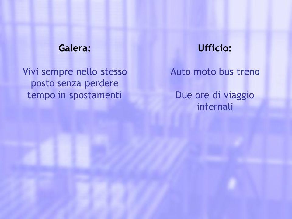 Galera: Vivi sempre nello stesso posto senza perdere tempo in spostamenti Ufficio: Auto moto bus treno Due ore di viaggio infernali