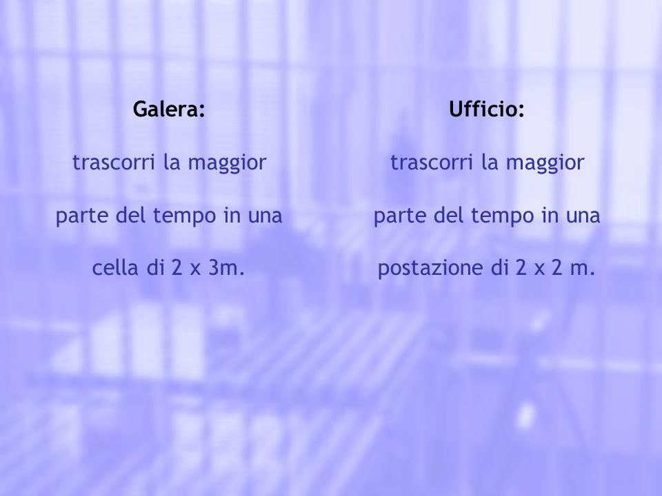 Galera: trascorri la maggior parte del tempo in una cella di 2 x 3m. Ufficio: trascorri la maggior parte del tempo in una postazione di 2 x 2 m.