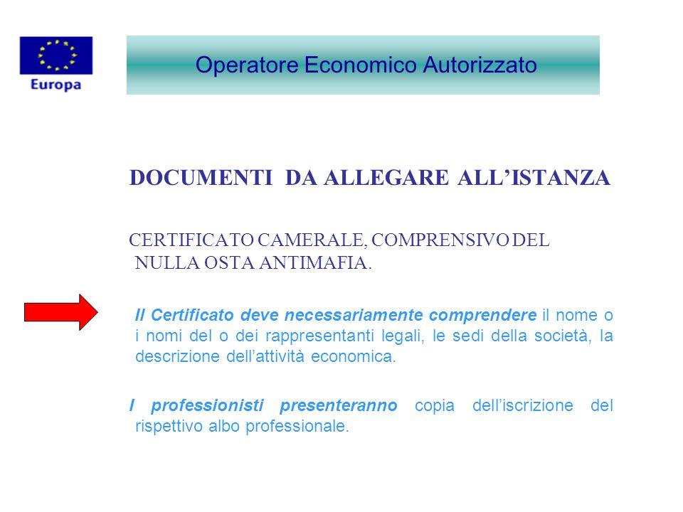 DOCUMENTI DA ALLEGARE ALLISTANZA CERTIFICATO CAMERALE, COMPRENSIVO DEL NULLA OSTA ANTIMAFIA. Il Certificato deve necessariamente comprendere il nome o