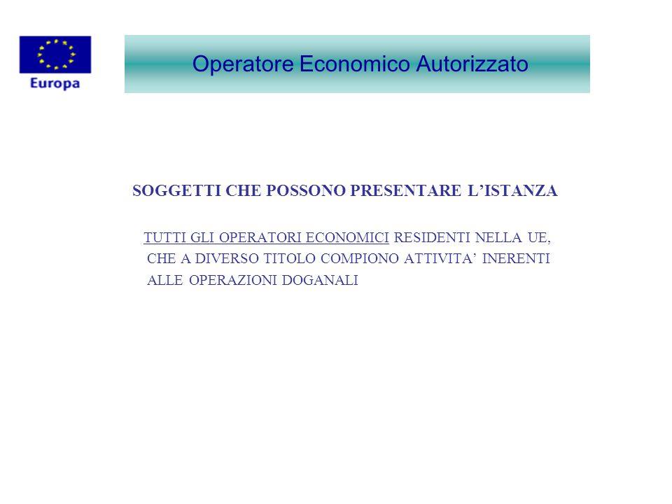 Operatore Economico Autorizzato MODELLO DI ISTANZA NON È POSSIBILE APPORTARE MODIFICHE AL MODELLO DI ISTANZA.