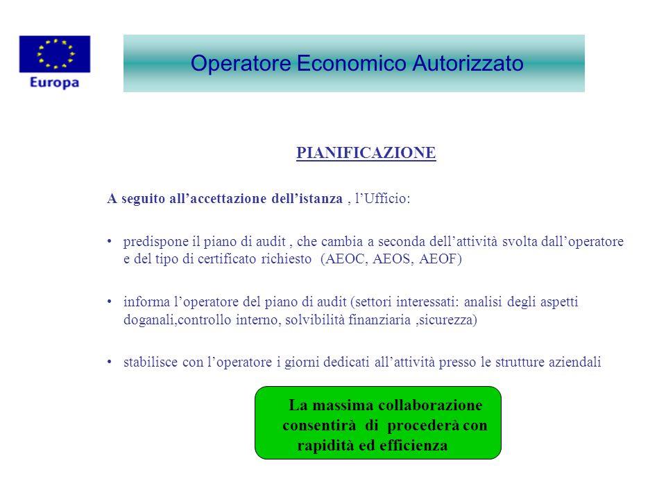 Operatore Economico Autorizzato PIANIFICAZIONE A seguito allaccettazione dellistanza, lUfficio: predispone il piano di audit, che cambia a seconda del