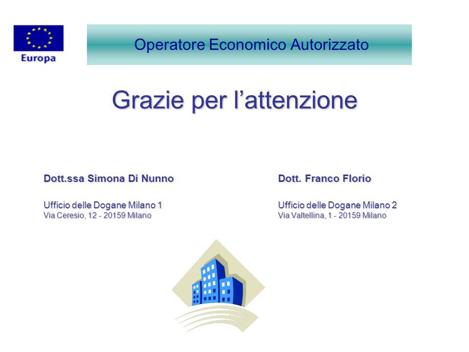 Grazie per lattenzione Dott.ssa Simona Di Nunno Dott. Franco Florio Ufficio delle Dogane Milano 1Ufficio delle Dogane Milano 2 Via Ceresio, 12 - 20159
