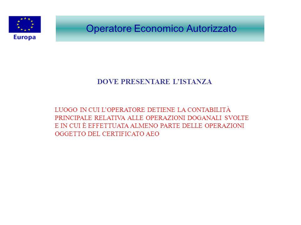 Operatore Economico Autorizzato DOVE PRESENTARE LISTANZA LUOGO IN CUI LOPERATORE DETIENE LA CONTABILITÀ PRINCIPALE RELATIVA ALLE OPERAZIONI DOGANALI S