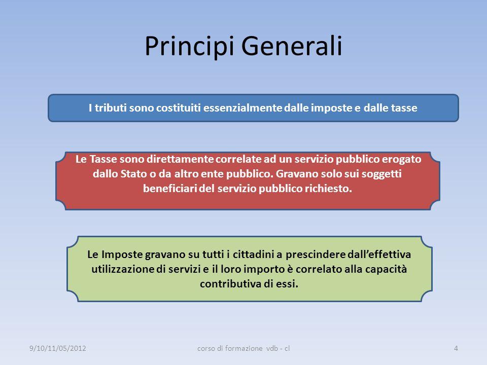 Principi Generali I principi costituzionali su cui si fondano sono: Principio di capacit à contributiva - Art.