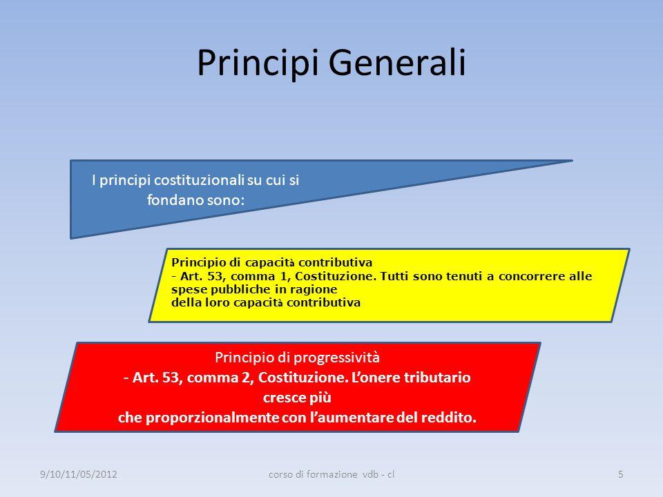 Principi Generali I principi costituzionali su cui si fondano sono: Principio di capacit à contributiva - Art. 53, comma 1, Costituzione. Tutti sono t