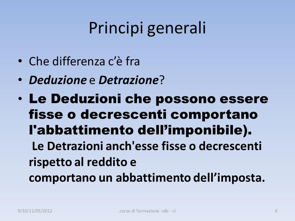 Principi generali Che differenza cè fra Deduzione e Detrazione? Le Deduzioni che possono essere fisse o decrescenti comportano l'abbattimento dellimpo