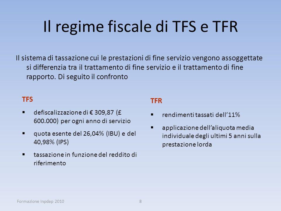Il regime fiscale di TFS e TFR Il sistema di tassazione cui le prestazioni di fine servizio vengono assoggettate si differenzia tra il trattamento di