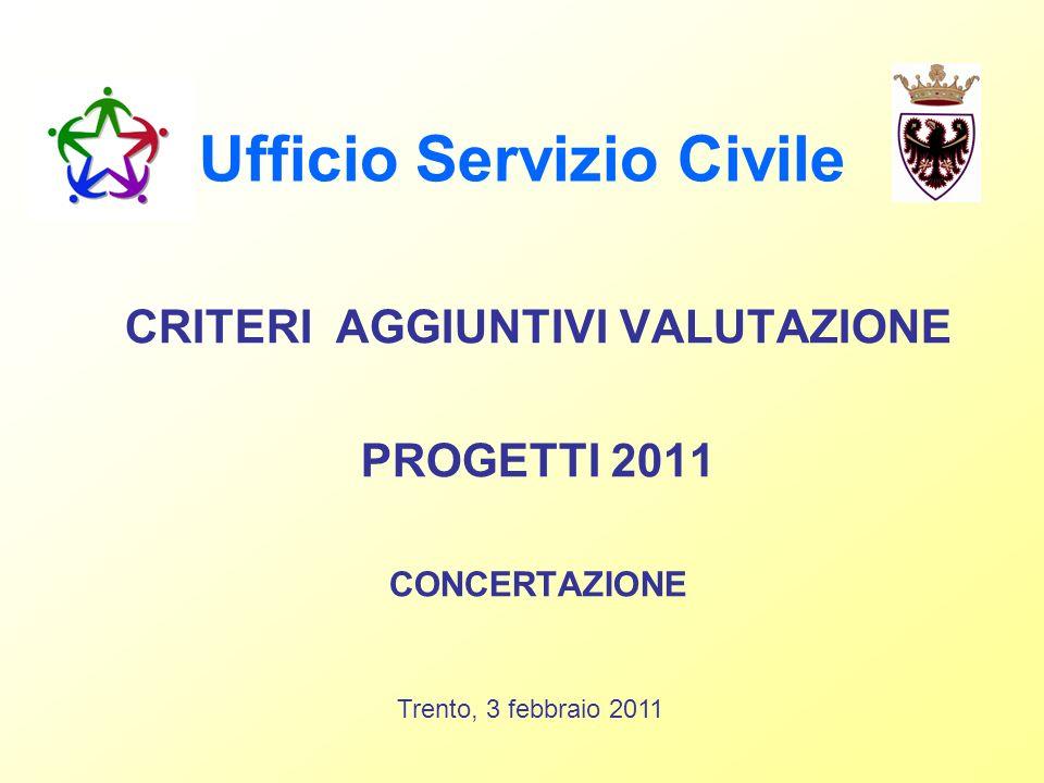 Ufficio Servizio Civile CRITERI AGGIUNTIVI VALUTAZIONE PROGETTI 2011 CONCERTAZIONE Trento, 3 febbraio 2011