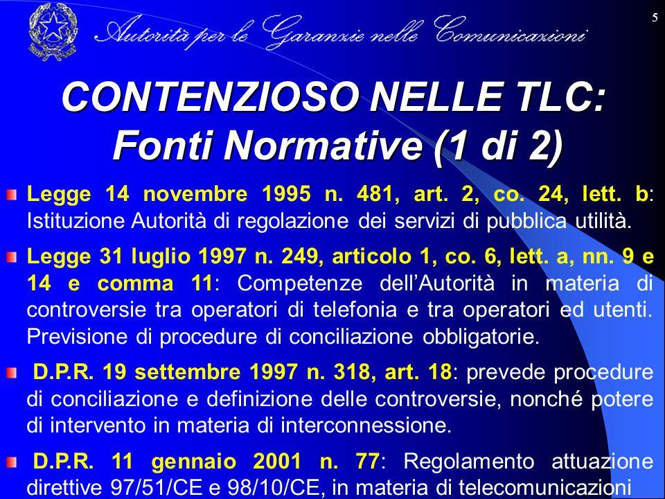 5 Legge 14 novembre 1995 n. 481, art. 2, co. 24, lett. b: Istituzione Autorità di regolazione dei servizi di pubblica utilità. Legge 31 luglio 1997 n.