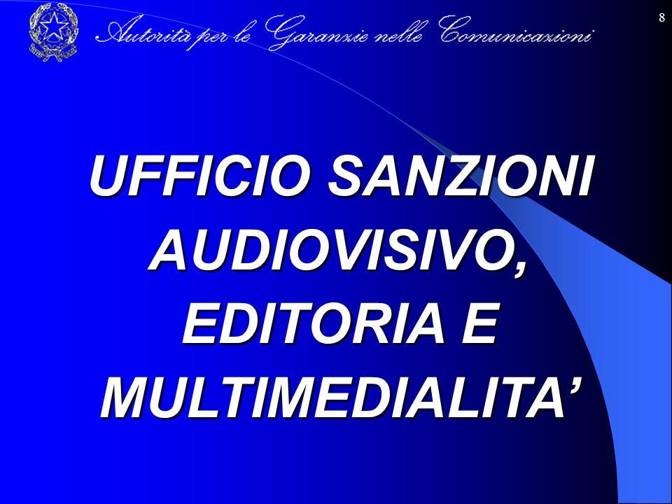 8 UFFICIO SANZIONI AUDIOVISIVO, EDITORIA E MULTIMEDIALITA