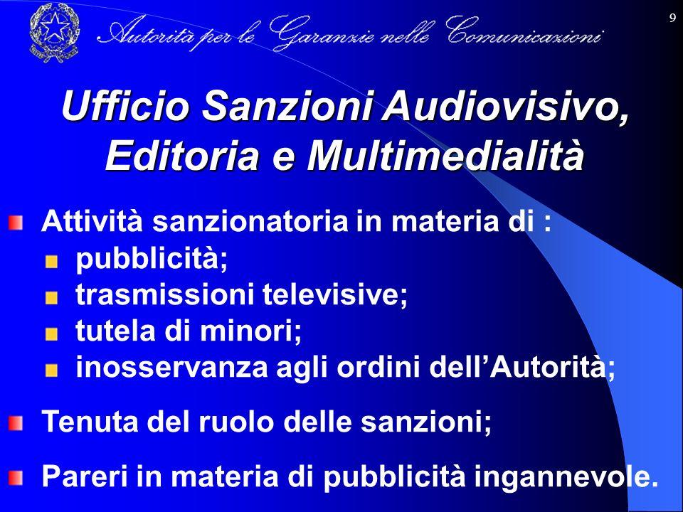 9 Ufficio Sanzioni Audiovisivo, Editoria e Multimedialità Attività sanzionatoria in materia di : pubblicità; trasmissioni televisive; tutela di minori
