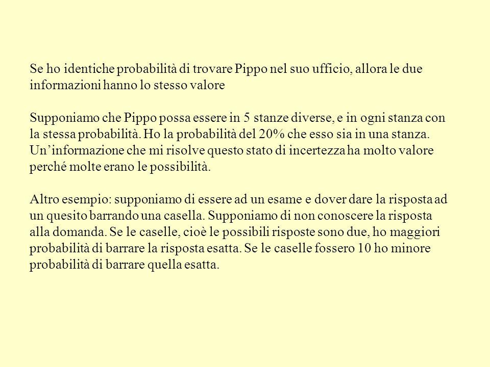 Se ho identiche probabilità di trovare Pippo nel suo ufficio, allora le due informazioni hanno lo stesso valore Supponiamo che Pippo possa essere in 5 stanze diverse, e in ogni stanza con la stessa probabilità.