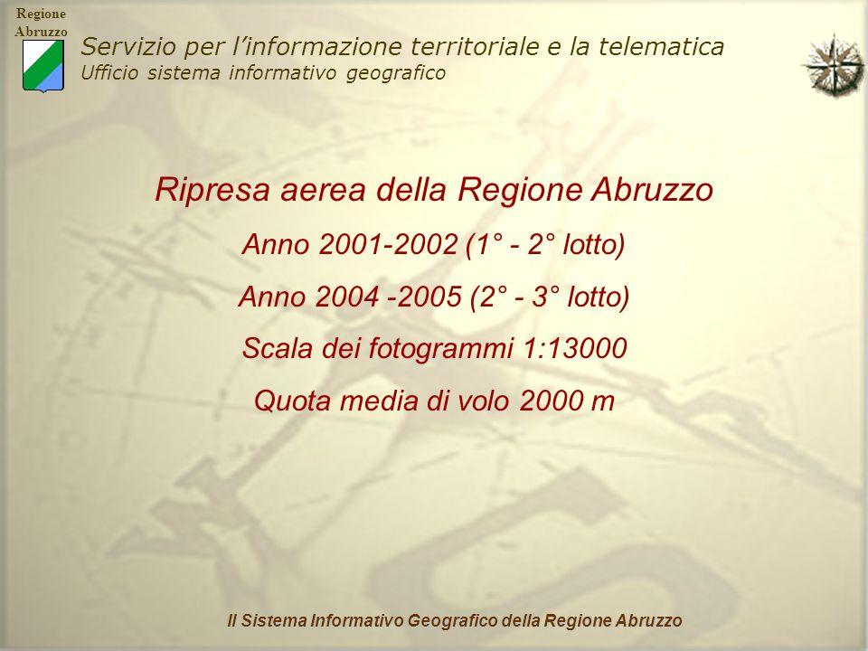 Regione Abruzzo Servizio per linformazione territoriale e la telematica Ufficio sistema informativo geografico Il Sistema Informativo Geografico della Regione Abruzzo Scansione delle diapositive con scanner fotogrammetrico risoluzione ottica 14 µm (1600 dpi) risoluzione radiometrica B/N 8bits (256 livelli di grigio)
