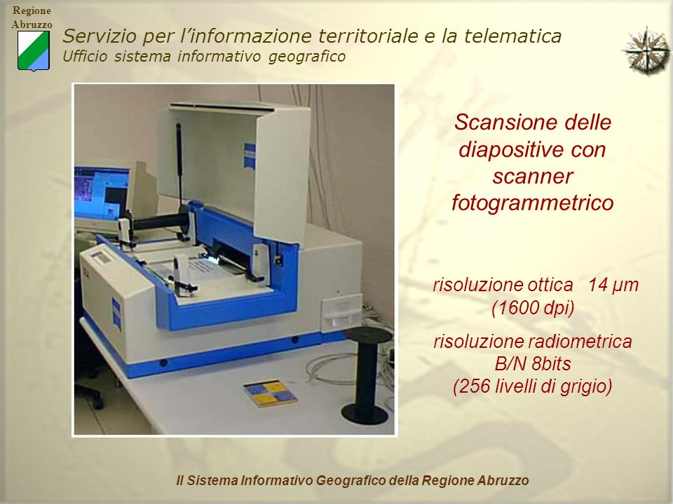 Regione Abruzzo Servizio per linformazione territoriale e la telematica Ufficio sistema informativo geografico Il Sistema Informativo Geografico della Regione Abruzzo Orthoresampling: è il processo di georeferenziazione, ovvero di creazione dellortofoto di ogni immagine.