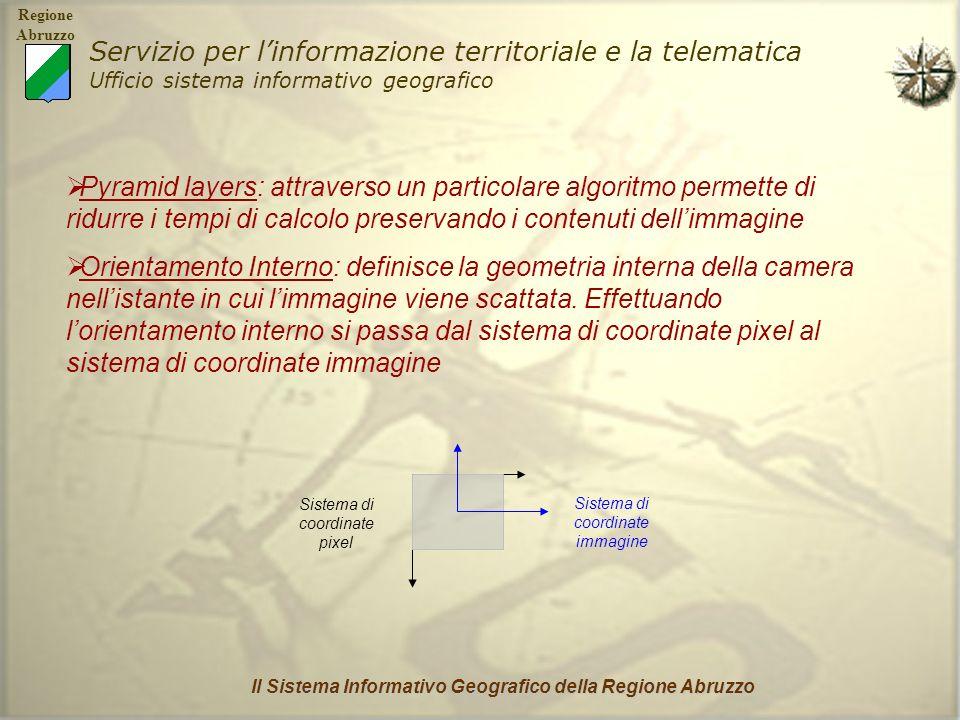 Regione Abruzzo Servizio per linformazione territoriale e la telematica Ufficio sistema informativo geografico Il Sistema Informativo Geografico della Regione Abruzzo La geometria interna della camera è definita dalle seguenti variabili: PUNTO PRINCIPALE (dato dallintersezione della retta passante per il centro di presa e perpendicolare al piano focale con il piano stesso) LUNGHEZZA FOCALE (distanza che separa il punto principale dal centro di presa) MARCHE FIDUCIALI (punti di riferimento fissati su ogni immagine) DISTORSIONE DELLE LENTI MARCHE FIDUCIALI PIANO IMMAGINE o PIANO FOCALE CENTRO DI PRESA LUNGHEZZA FOCALE PUNTO PRINCIPALE