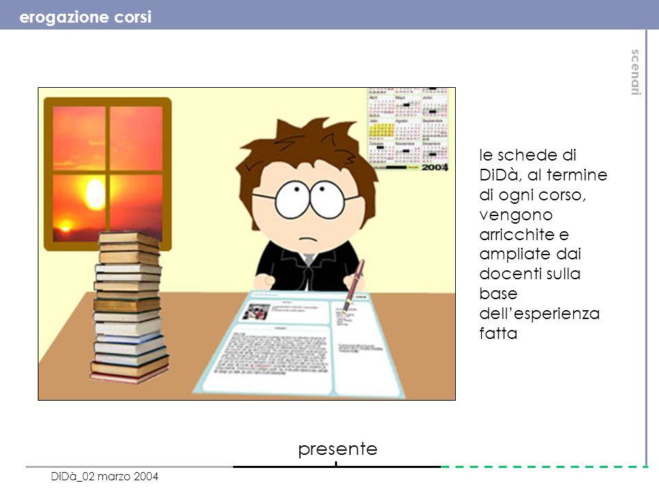 erogazione corsi DiDà_02 marzo 2004 presente le schede di DiDà, al termine di ogni corso, vengono arricchite e ampliate dai docenti sulla base dellesperienza fatta scenari