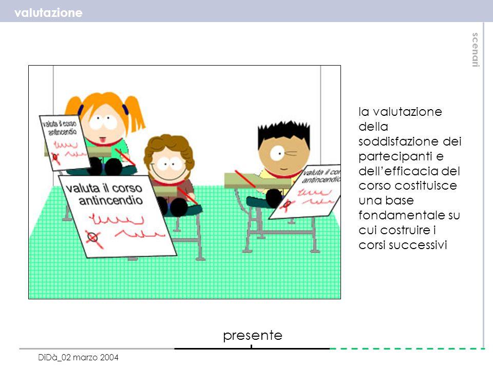 valutazione scenari DiDà_02 marzo 2004 la valutazione della soddisfazione dei partecipanti e dellefficacia del corso costituisce una base fondamentale su cui costruire i corsi successivi presente