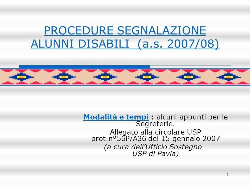 1 PROCEDURE SEGNALAZIONE ALUNNI DISABILI (a.s.
