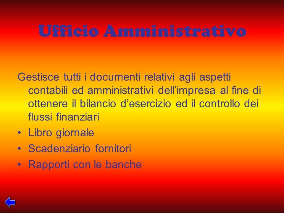 Ufficio Amministrativo Gestisce tutti i documenti relativi agli aspetti contabili ed amministrativi dellimpresa al fine di ottenere il bilancio deserc