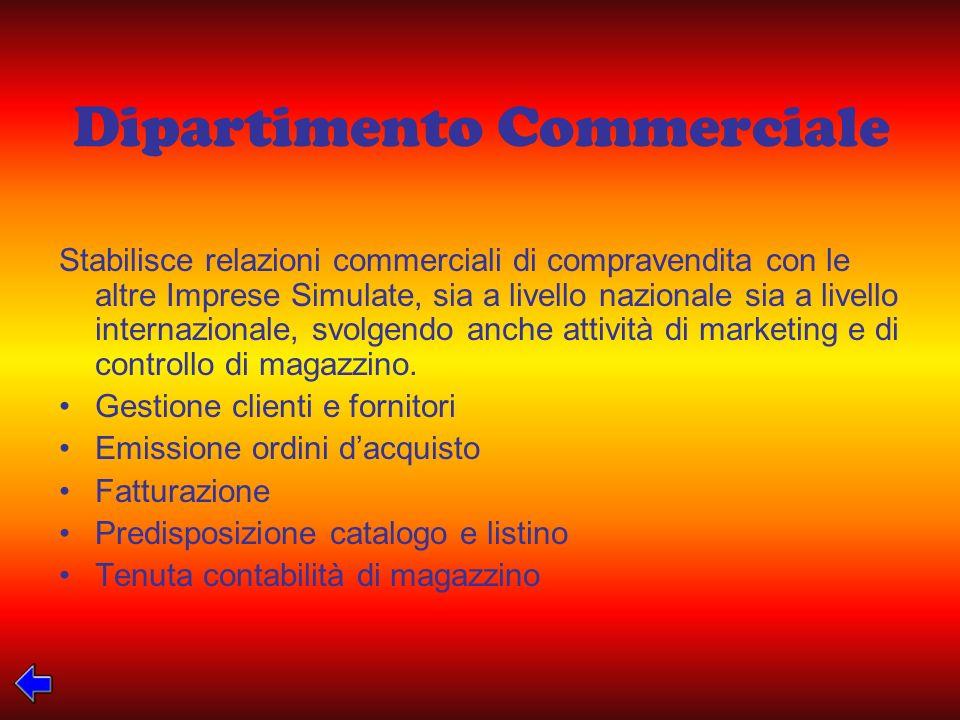 Dipartimento Commerciale Stabilisce relazioni commerciali di compravendita con le altre Imprese Simulate, sia a livello nazionale sia a livello internazionale, svolgendo anche attività di marketing e di controllo di magazzino.