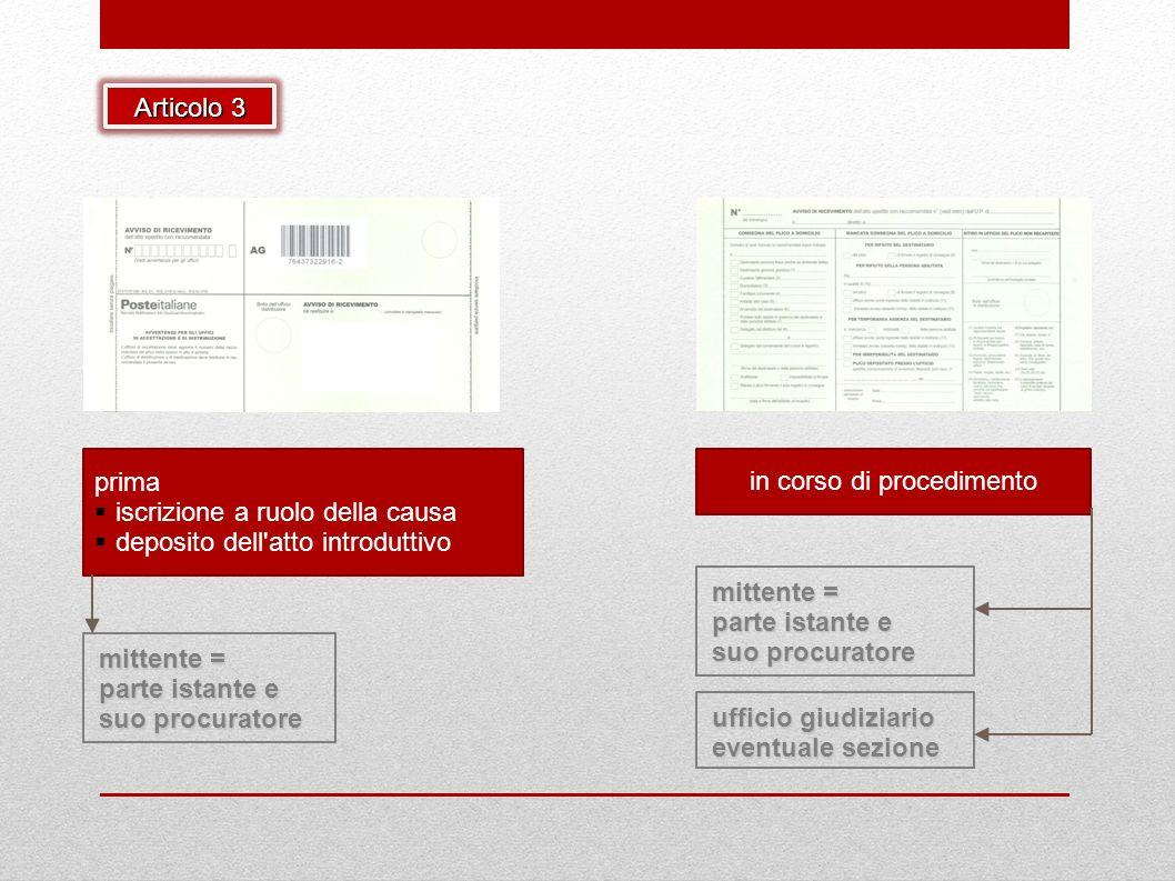 mittente = parte istante e suo procuratore prima iscrizione a ruolo della causa deposito dell'atto introduttivo in corso di procedimento ufficio giudi