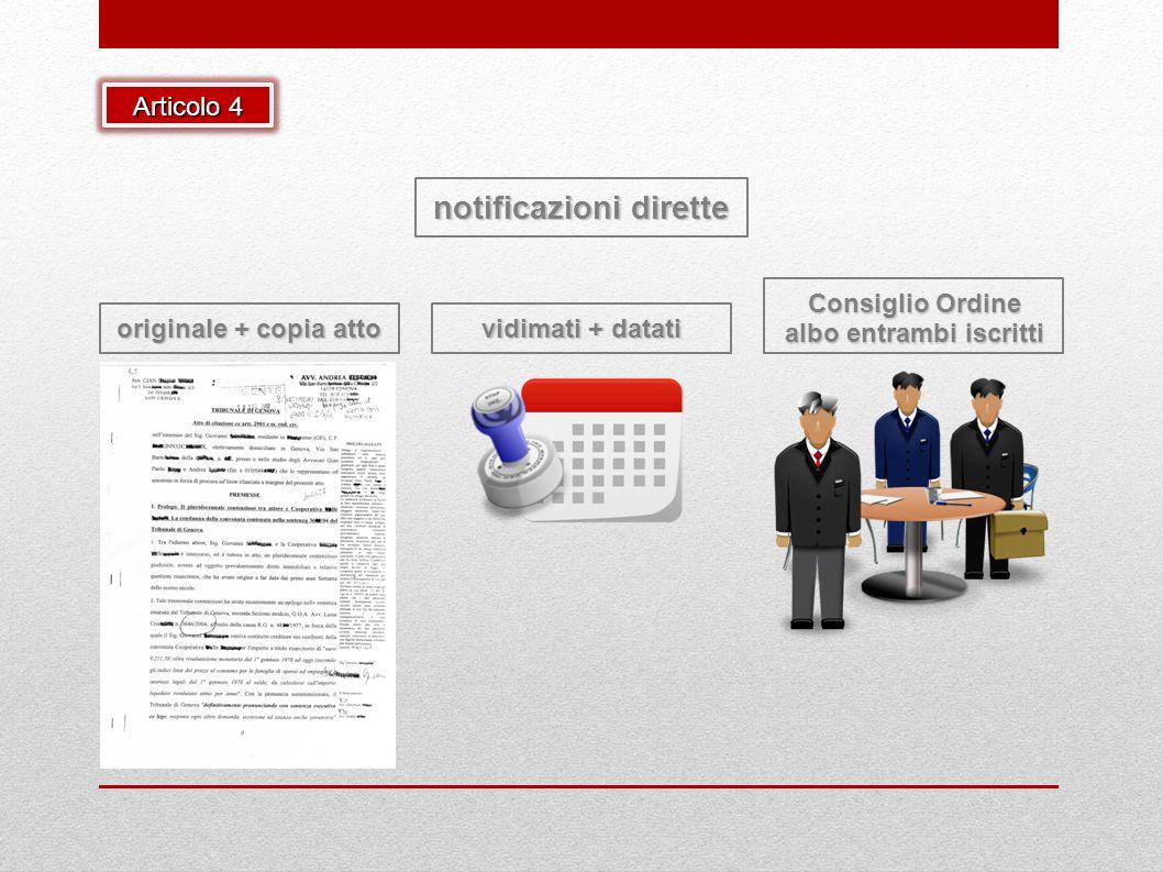 notificazioni dirette originale + copia atto vidimati + datati Consiglio Ordine albo entrambi iscritti Articolo 4