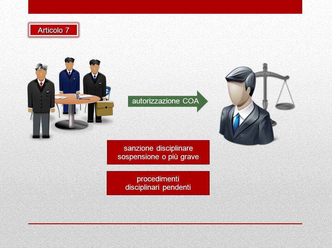 Articolo 7 procedimenti disciplinari pendenti sanzione disciplinare sospensione o più grave autorizzazione COA