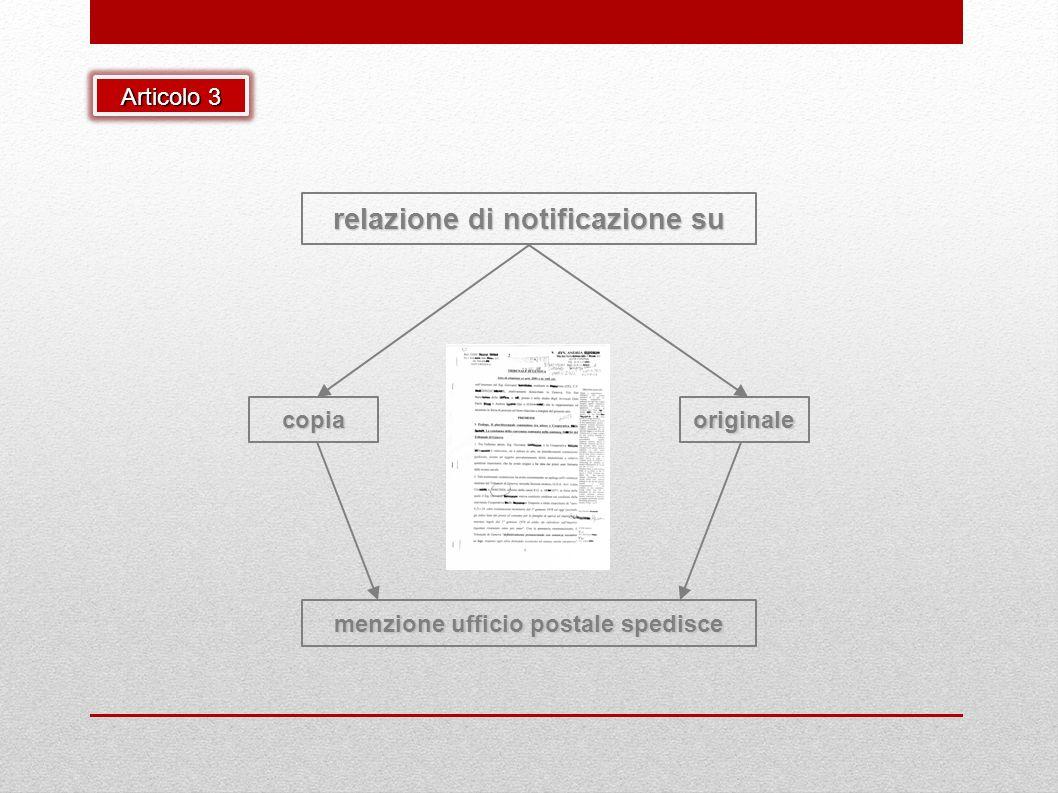 menzione ufficio postale spedisce relazione di notificazione su originalecopia Articolo 3
