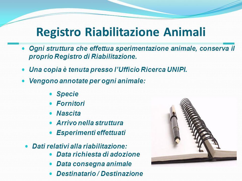 Registro Riabilitazione Animali Ogni struttura che effettua sperimentazione animale, conserva il proprio Registro di Riabilitazione. Specie Fornitori