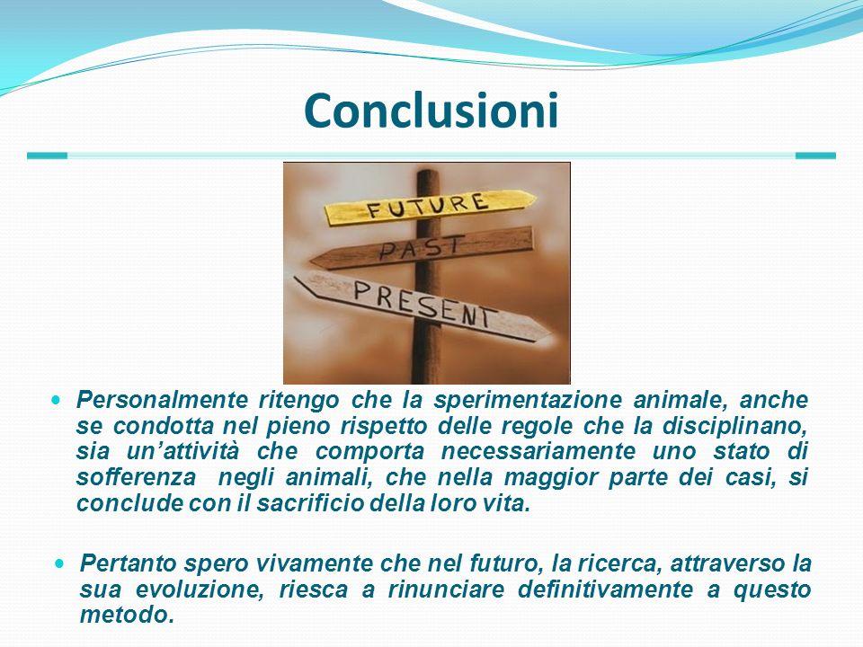 Conclusioni Personalmente ritengo che la sperimentazione animale, anche se condotta nel pieno rispetto delle regole che la disciplinano, sia unattivit