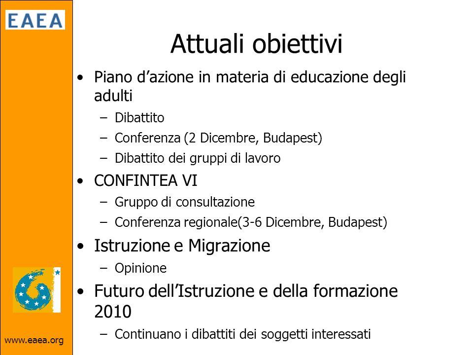 Attuali obiettivi Piano dazione in materia di educazione degli adulti –Dibattito –Conferenza (2 Dicembre, Budapest) –Dibattito dei gruppi di lavoro CONFINTEA VI –Gruppo di consultazione –Conferenza regionale(3-6 Dicembre, Budapest) Istruzione e Migrazione –Opinione Futuro dellIstruzione e della formazione 2010 –Continuano i dibattiti dei soggetti interessati