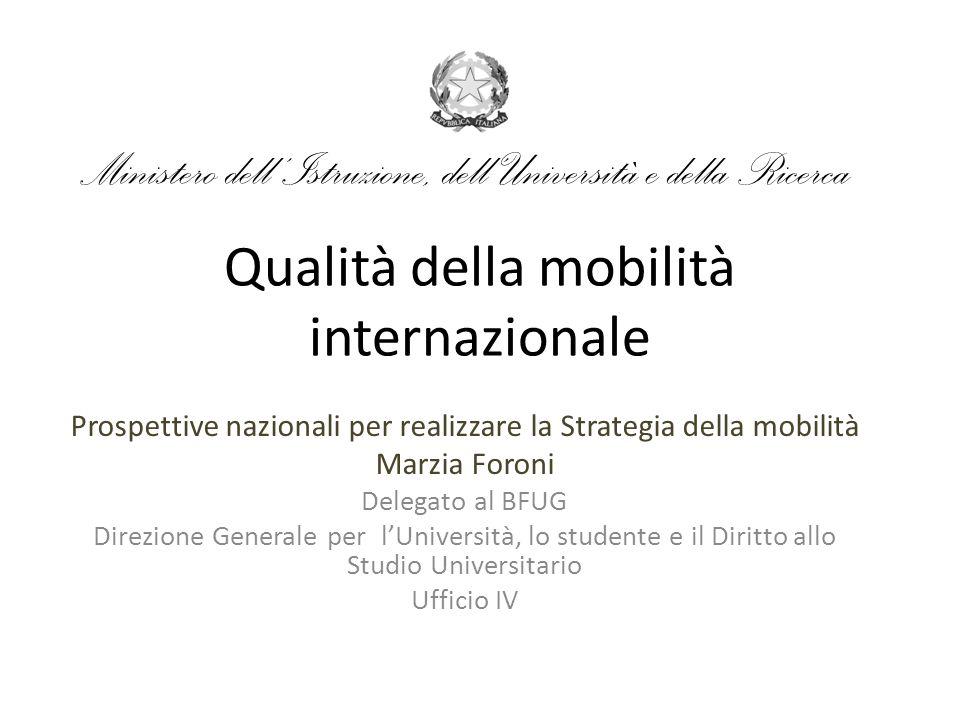 Qualità della mobilità internazionale Prospettive nazionali per realizzare la Strategia della mobilità Marzia Foroni Delegato al BFUG Direzione Genera