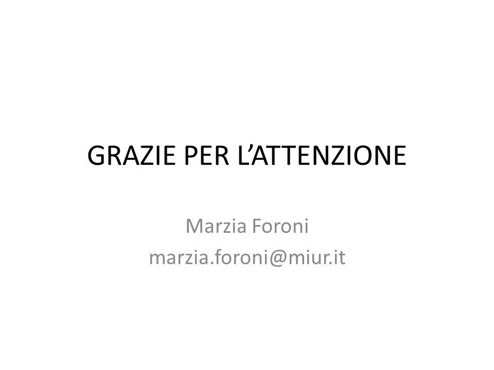 GRAZIE PER LATTENZIONE Marzia Foroni marzia.foroni@miur.it