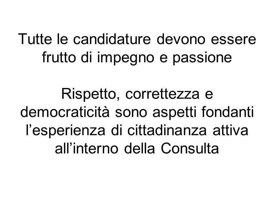 Tutte le candidature devono essere frutto di impegno e passione Rispetto, correttezza e democraticità sono aspetti fondanti lesperienza di cittadinanza attiva allinterno della Consulta