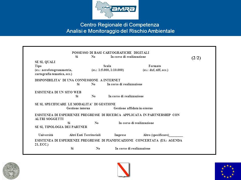Centro Regionale di Competenza Analisi e Monitoraggio del Rischio Ambientale POSSESSO DI BASI CARTOGRAFICHE DIGITALI Si No In corso di realizzazione SE SI, QUALI Tipo Scala Formato (es.: aerofotogrammetria, (es.: 1:5.000, 1:10.000) (es.: dxf, tiff, ecc.) cartografia tematica, ecc.) DISPONIBILITA DI UNA CONNESSIONE A INTERNET Si No In corso di realizzazione ESISTENZA DI UN SITO WEB Si No In corso di realizzazione SE SI, SPECIFICARE LE MODALITA DI GESTIONE Gestione interna Gestione affidata in esterno ESISTENZA DI ESPERIENZE PREGRESSE DI RICERCA APPLICATA IN PARTNERSHIP CON ALTRI SOGGETTI Si No In corso di realizzazione SE SI, TIPOLOGIA DEI PARTNER Università Altri Enti Territoriali Imprese Altro (specificare)________ ESISTENZA DI ESPERIENZE PREGRESSE DI PIANIFICAZIONE CONCERTATA (ES.: AGENDA 21, ECC.) Si No In corso di realizzazione (2/2)