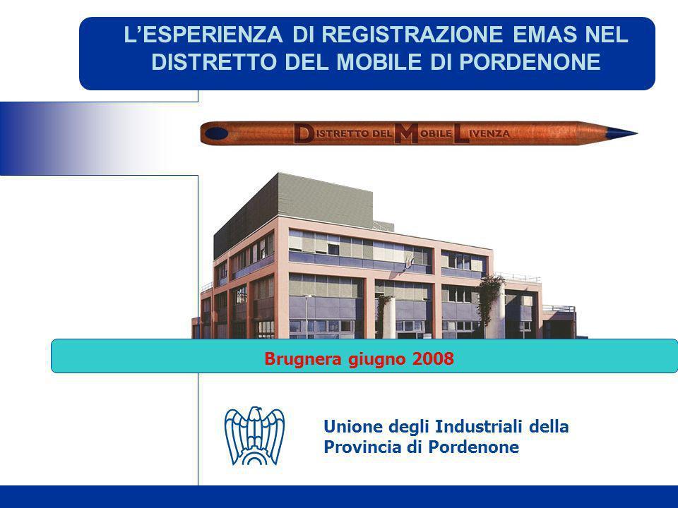 LESPERIENZA DI REGISTRAZIONE EMAS NEL DISTRETTO DEL MOBILE DI PORDENONE Brugnera giugno 2008 Unione degli Industriali della Provincia di Pordenone