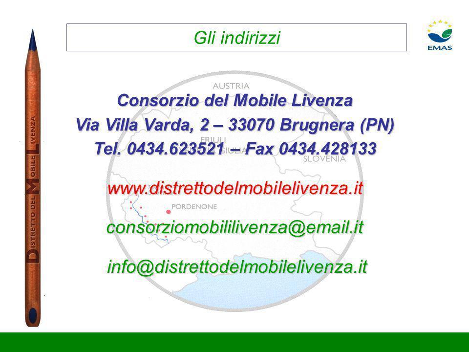 Gli indirizzi Consorzio del Mobile Livenza Via Villa Varda, 2 – 33070 Brugnera (PN) Tel. 0434.623521 – Fax 0434.428133 www.distrettodelmobilelivenza.i