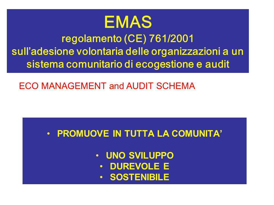 EMAS regolamento (CE) 761/2001 sulladesione volontaria delle organizzazioni a un sistema comunitario di ecogestione e audit PROMUOVE IN TUTTA LA COMUN