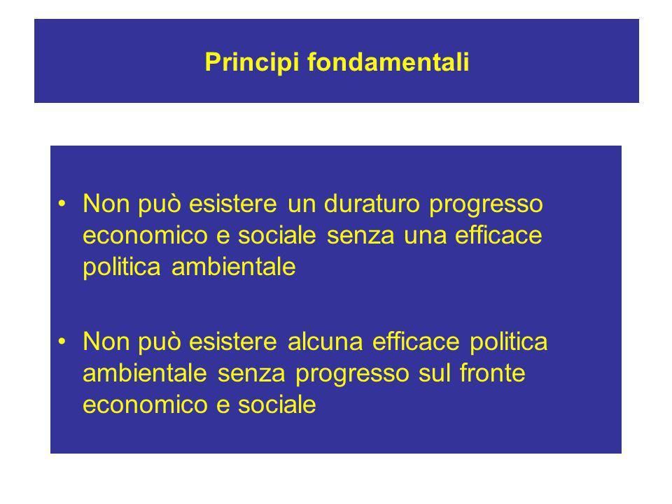 Principi fondamentali Non può esistere un duraturo progresso economico e sociale senza una efficace politica ambientale Non può esistere alcuna effica