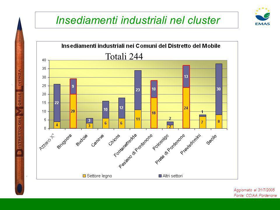 Insediamenti industriali nel cluster Aggiornato al 31/7/2005 Fonte: CCIAA Pordenone Totali 244